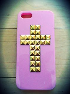 Pastel pink iPhone 5 studded cross case by TouchedByGrace31, $17.50