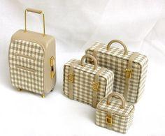 set di valigie scala 1/12 in pelle e tessuto por minifromItaly