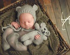 Baby teddy bear Only- photo prop - baby keepsake bear - newborn prop - newborn  photography - knitted teddy - knitted mohair teddy - mohair b91e593f0e85