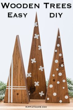 DIY some Scandinavian Christmas Trees with scrap wood. FREE PATTERN. They are a minimalist design with warm wood tones and vinyl decals. Perfect for Christmas decorating and gifts. Learn how to make some with our step by step directions and video... #scrapwoodprojects #christmastree #vinyldecal #kippiathome Scandinavian Christmas Trees, Wooden Christmas Trees, Wooden Tree, Wooden Diy, Easy Christmas Crafts, All Things Christmas, Christmas Decorations, Christmas Ideas, Scrap Wood Projects