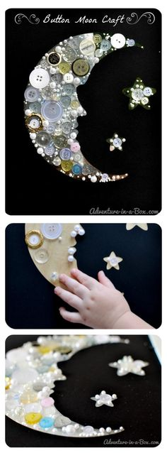Reaching for the Moon: Make a Button Collage || Simple craft for toddlers and preschoolers who are starting to study astronomy Easy Crafts For Toddlers, Simple Crafts For Kids, Space Crafts Preschool, Arts And Crafts For Kids Toddlers, Outer Space Crafts For Kids, Button Crafts For Kids, Space Activities, Simple Art And Craft, Crafts To Do