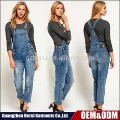 6e20e2b45 New Style Fashion Ladies Sexy Suspender Trousers Top Selling Custom Wash  Denim Destroyed Overalls For Women