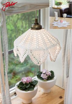 Beautiful crochet lampshade and cloth.
