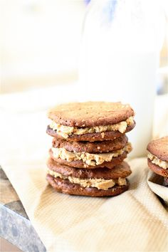 'Peanut Butter Sandwich Cookies' recipe -- The peanut butter filling for these cookies is supposed to be 'to die for'!! Best of all, it is made with only 3 ingredients.