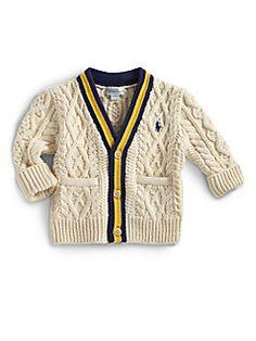 Blandingen af det klassiske strik og farver (selom farverne kunne være mere spændende) Ralph Lauren - Infant's Cable-Knit Cardigan