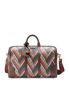GG+Chevron+Canvas+Duffel+Bag,+Red/Green+by+Gucci+at+Neiman+Marcus.