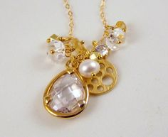 Gorgeous, Gemstone and Charm Cluster Necklace with 14k Gold Filled Chain on Etsy, $58.00