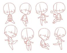 Chibi Drawing Reference and Sketches for Artists Chibi Girl Drawings, Cute Kawaii Drawings, Art Drawings Sketches, Cartoon Drawings, Anime Chibi, Chibi Bts, Anime Naruto, Chibi Sketch, Anime Sketch