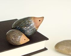 Mama and Baby Hedgehog in muted colors,ceramic clay pottery sculpture animal art TheLittleClayHouse