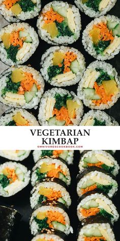 Vegetarian Kimbap is a Korean classic featuring egg, rice, and veggies rolled in seaweed. It's both refreshing and satisfying and perfect for an appetizer, snack, or picnic. {Gluten-Free, Vegan-Adaptable} Vegetarian Recipes Easy, Veggie Recipes, Lunch Recipes, Indian Food Recipes, Asian Recipes, Good Healthy Recipes, Real Food Recipes, Cookbook Recipes, Top Recipes