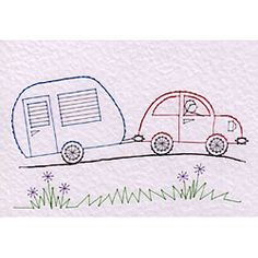 A car towing a caravan pattern has been added to the Stitching Cards collection. http://www.stitchingcards.com/product.php/745/