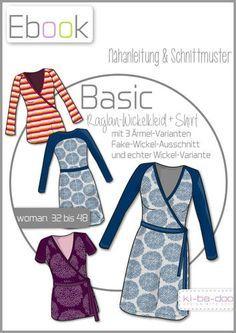 Ebook Damen Basic Raglan-Wickelkleid/-Shirt - Schnittmuster und Anleitung als PDF, versandkostenfrei
