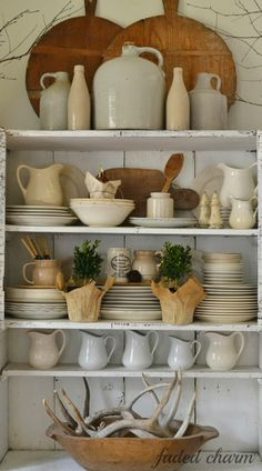 Displaying Collected Treasures - ironstone, bread boards and antlers. Faded Charm: ~Adding to my Collections~ Farmhouse Style, Farmhouse Decor, Rustic Style, Rustic Charm, Country Style, Cozinha Shabby Chic, Cocinas Kitchen, White Dishes, White Pitchers
