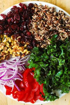 Kale Salad with Cranberries, Walnuts, and Wild Rice
