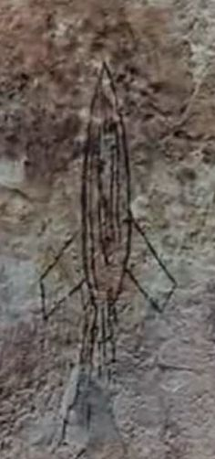 Carvings, paintings and relics of many ancient cultures commemorate interactions with ancient astronauts or ancient aliens. Some of the depictions our ancestors made are simple and crude; others contain many details drawn with astonishing accuracy. This ancient cave painting (image) was discovered in Japan and dates back over 5000 years BC. It depicts space rocket, which looks almost like a modern one, with a fuselage, two wings and the exhaust gases, all clearly seen in this depiction.