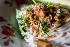 Sticky shan noodles from Burma.