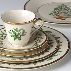 Shop seasonal dinnerware by Lenox for your home including holiday patterns. Lenox offers the most popular variety of fine china patterns in United States Lenox Christmas, Christmas China, Christmas Dishes, Fine China Patterns, Christmas Dinnerware, Christmas Table Settings, A Table, Tea Cups, Tableware
