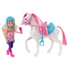 Gallop into adventure with the Barbie Chelsea Doll & Pony Playset! The sweet white pony has a bright pink mane and tail that Chelsea can groom with the included brush that attaches to her hand. Girls can also decorate the pony's mane and tail with clips in cute colors and shapes. A vivid blue saddle and pink reins are the perfect riding gear for Chelsea, who is ready to ride in a charming matching outfit. Tall pink riding boots and a blue helmet will keep her stylish and safe! Girls w...