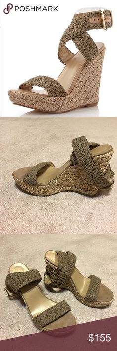 """Stuart Weitzman Wedge Sandals Crocheted ankle wrap halter and open toe straps lines in leather.  5"""" jute covered heel; 1 1/2 """" upturned, jute covered platform. Statement buckle closure and padded leather footbed and sole. Stuart Weitzman Shoes Sandals"""