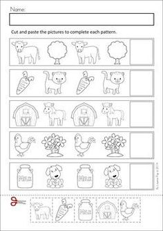 Math & Literacy Worksheets & Activities - Down on the Farm. 100 Pages in total! A page from the unit: Patterns cut and pasteMEGA Math & Literacy Worksheets & Activities - Down on the Farm. 100 Pages in total! A page from the unit: Patterns cut and paste Literacy Worksheets, Math Literacy, Preschool Curriculum, Preschool Learning, Preschool Activities, Matching Worksheets, Numbers Preschool, Free Preschool, Free Math