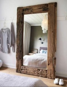 Gorgeous Ideas to Make Large Handmade Full Length Rustic Reclaimed Wood Floor Mirror | My Home Decor Guide