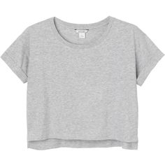 Pim tee found on Polyvore featuring tops, t-shirts, shirts, crop tops, crop top, gray crop top, roll sleeve shirt, sleeve shirt and crop shirts