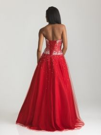 tulle beaded sweetheart strapless ball gown lace up prom dress