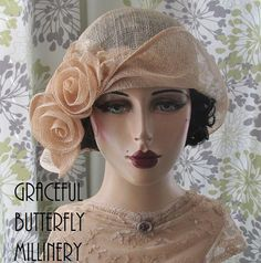 Ivory Rose Cloche Hat by Graceful Butterfly Millinery