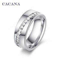 Anillos de acero inoxidable de titanio CACANA para las mujeres con piedras en linea