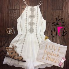 All you need is love, lipstick, pearls, and a cute outfit! 😊✨ Romper $65 Sam Edelman Sandals $100 Carry all bag $12 Bracelets $15 Vera Bradley Lotion $10