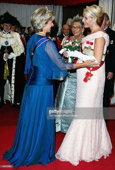 The Duchess of Gloucester welcomes Crown Princess Mette-Marit of Norway, pregnant and expecting a baby very soon, and Princess Astrid of Norway to a dinner held at the Guildhall on October 26, 2005 in London, England.