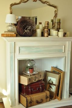 Decorating an unused fireplace.....