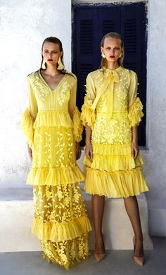 SS 1701Ruffle Sleeve V-Neck Chiffon Long Dress, Yellow SS 1702 Lace And Silk Chiffon Midi Dress, Yellow