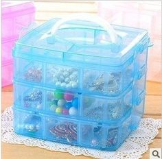 Clear 3 Layers Nail Art Makeup Cosmetics Container Storage Box Case Blue * You can get more details by clicking on the image. Note:It is Affiliate Link to Amazon.
