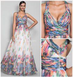 Correas A-line/Princess palabra de longitud vestido de noche de gasa de impresión - EUR € 119.99