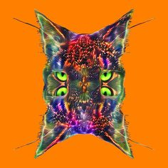 Artificial neural style Space galaxy mirror cat