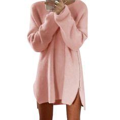 Autumn Winter Casual Sweaters Women Long Sleeve Zippers Side Jumper Top Knitted Sweater Loose Plus Size Split Sweater Women