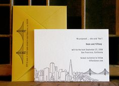 San Francisco Skyline Save the Date from dutch door press