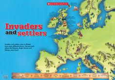 Invaders and settlers came to Britain from many different shores. Can children spot where Romans, Anglo Saxons and Vikings came from on this colourful poster? Vikings Ks2, Romans Ks2, Ks2 Display, Map Of Great Britain, Middle Ages History, Classroom Displays, Classroom Ideas, Drama, Roman History