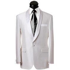 Mens White 4 Piece Single Breasted Wedding Prom Tuxedo Suits SKU-123011