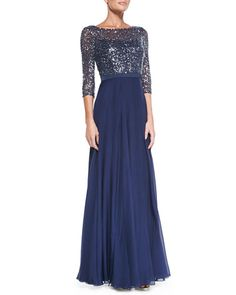 Kay Unger New York 3/4-Sleeve Sequined Lace Bodice Gown  $690