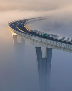 The first morning light lightens up the viaduct Črni Kal which partly covered in dense fog extending across the northern Adriatic sea. Nov Photo by: to be featured Bridges Architecture, Bridge Design, Adriatic Sea, Civil Engineering, Bridge Engineering, Pedestrian, Amazing Nature, Paths, Beautiful Places