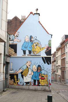 """Blondie & Blink,"" created by Jijé, in Brussels, Belgium - photo by Wim de Koning Gans, via pbase; 3d Street Art, Urban Street Art, Murals Street Art, Amazing Street Art, Street Art Graffiti, Mural Art, Street Artists, Arte Banksy, Pavement Art"