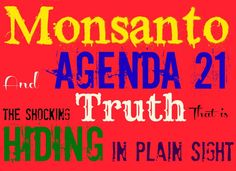 """Monsanto and Agenda 21: The Shocking Truth That is Hiding in Plain Sight - a great article that will get you thinking about """"sustainable"""" agriculture.  We need to know where our food is coming from!!"""