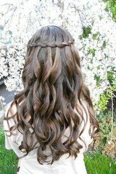 Waterfall braid wedding hair should go fine with natural curls. Waterfall braid wedding hair should Communion Hairstyles, Dance Hairstyles, Flower Girl Hairstyles, Braided Hairstyles For Wedding, Homecoming Hairstyles, Bride Hairstyles, Pretty Hairstyles, Hairstyle Ideas, Perfect Hairstyle
