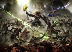 Sigmar Heldenhammer fighting Arkhan the Black