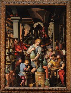 Giovanni Stradano, Il laboratorio dell'alchimista (l'uomo a lavoro in basso a destra è lo stesso Francesco I de' Medici)