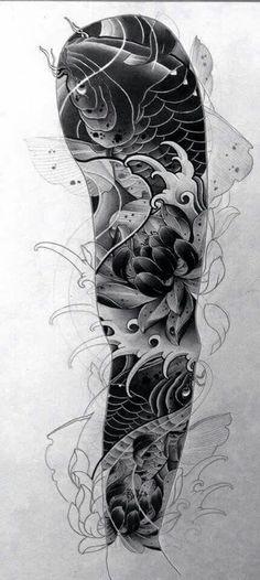 Tattoo For Men Awesome Tatoo 49 Super Ideas Koi Tattoo Sleeve, Carp Tattoo, Full Sleeve Tattoos, Tattoo Sleeve Designs, Tattoo Ink, Japanese Tattoo Designs, Japanese Tattoo Art, Japanese Sleeve Tattoos, Japanese Design