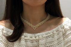 Tatting lace necklace / bracelet pdf pattern Blanche por TheKimAndI