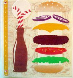 Vintage Cardesign Message Units Stickers - American Graffiti - Build a Hamburger & Soda